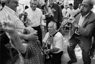 Musicians and dancers at a festival in Ganadio, a village in the region of Epirus in northwestern Greece, 2000