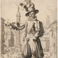 Giovanni Alto showing off the sights of Rome; engraving by Francesco Villamena, 1613