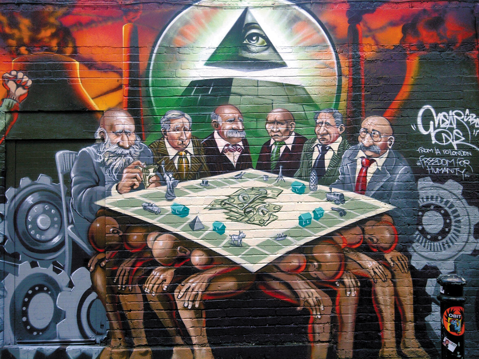 A mural in London's East End by the street artist Kalen Ockerman, known as Mear One. It was erased in 2012 because of concerns that it was anti-Semitic.