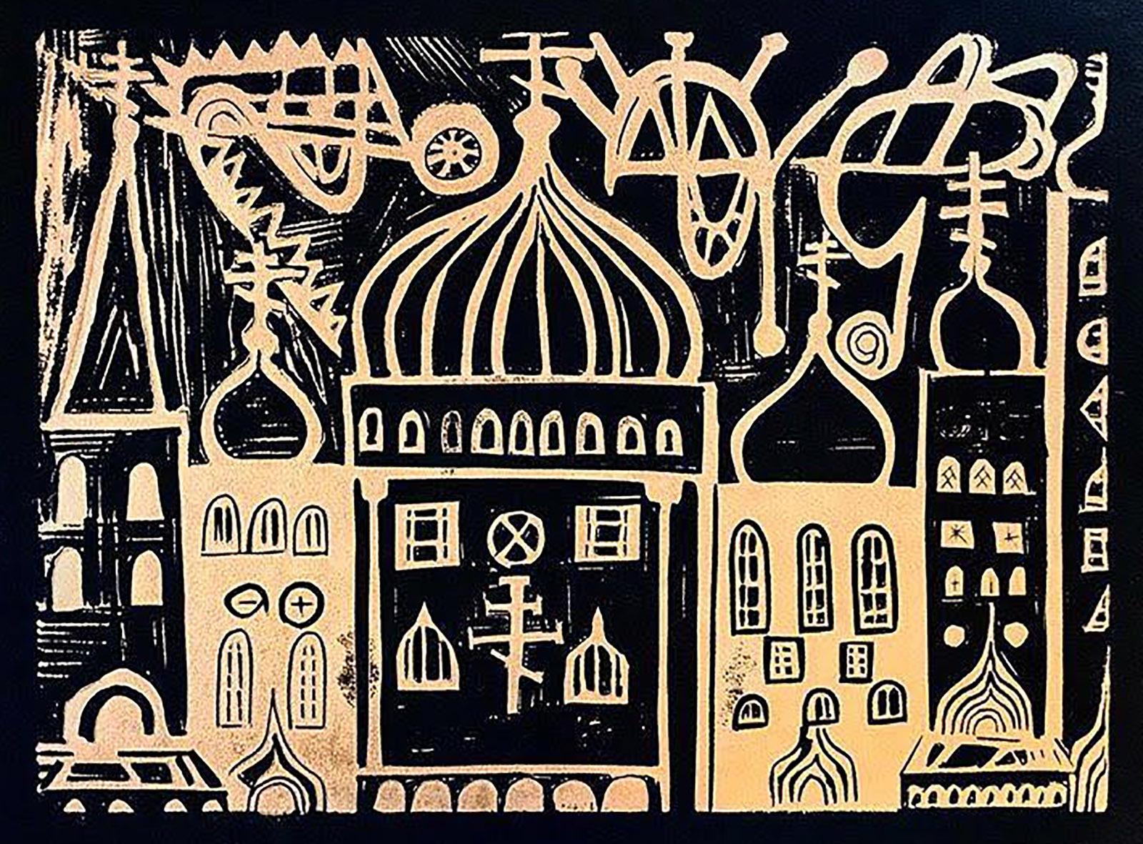 30. Misha Lino Print of Churches