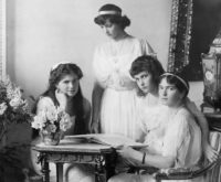 The daughters of Tsar Nicholas II—Marie, Tatiana, Anastasia, and Olga—Russia, circa 1915
