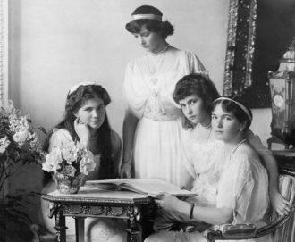 The daughters of Tsar Nicholas II—Marie, Tatiana, Anastasia, and Olga—Russia, circa 1915