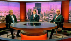 British Foreign Secretary Boris Johnson, Labour's Brexit spokesman Sir Keir Starmer, and United Kingdom Independence Party leader Paul Nuttall during filming for the BBC's current affairs program The Andrew Marr Show, London, December 4, 2016
