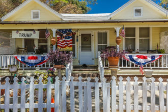 An Americana house marking Independence Day, Ojai, California, July 4, 2016