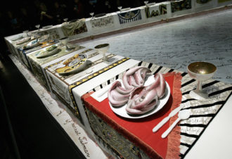 Judy Chicago: a detail of The Dinner Party (1974–1979)