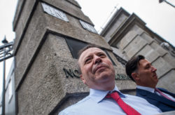 Leave.EU backer Arron Banks arriving with fellow Brexit campaigner Andy Wigmore to give evidence to a parliamentary committee after British newspapers reported that Banks had held a series of meetings with the Russian ambassador before the 2016 Brexit referendum, London, June 12, 2018