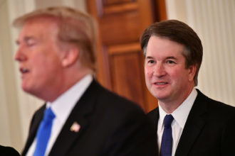 Supreme Court nominee Brett Kavanaugh listening as President Donald Trump announced his nomination at the White House, Washington, D.C., July 9, 2018