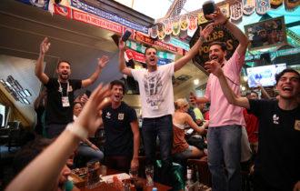 Fans watching Belgium play Panama in an Irish bar in Moscow, Russia, June 18, 2018
