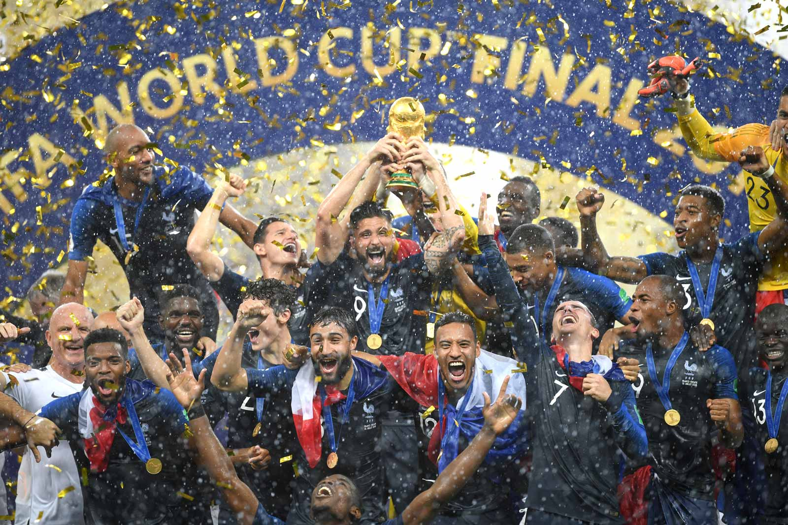 France celebrating their win against Croatia with the World Cup Trophy, Moscow, July 15, 2018