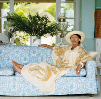 Princess Margaret at her house on the West Indian island of Mustique, April 1976