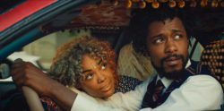 Tessa Thompson as Detroit and Lakeith Stanfield as Cassius Green in Boots Riley's Sorry to Bother You, 2018