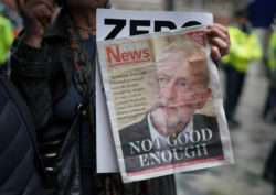 A Campaign Against Antisemitism protester outside the Labour Party headquarters, London, April 8, 2018