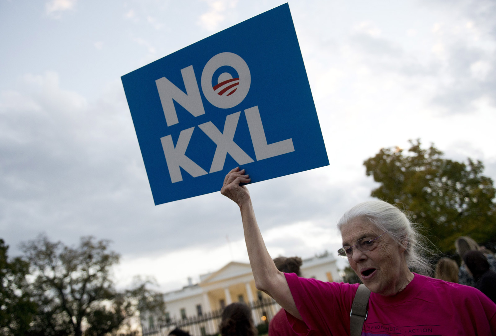 A protester celebrating President Barack Obama's decision to block the Keystone XL oil pipeline, Washington, D.C., November 6, 2015