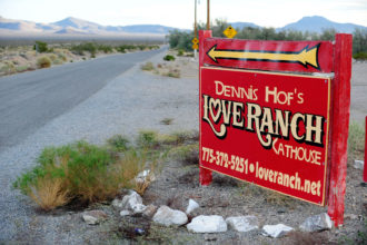 A sign for the Love Ranch Las Vegas brothel, Crystal, Nevada, October 14, 2015
