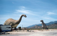 Dinosaurs, designed by Claude Bell, along California's Interstate 10, Cabazon, circa 1993