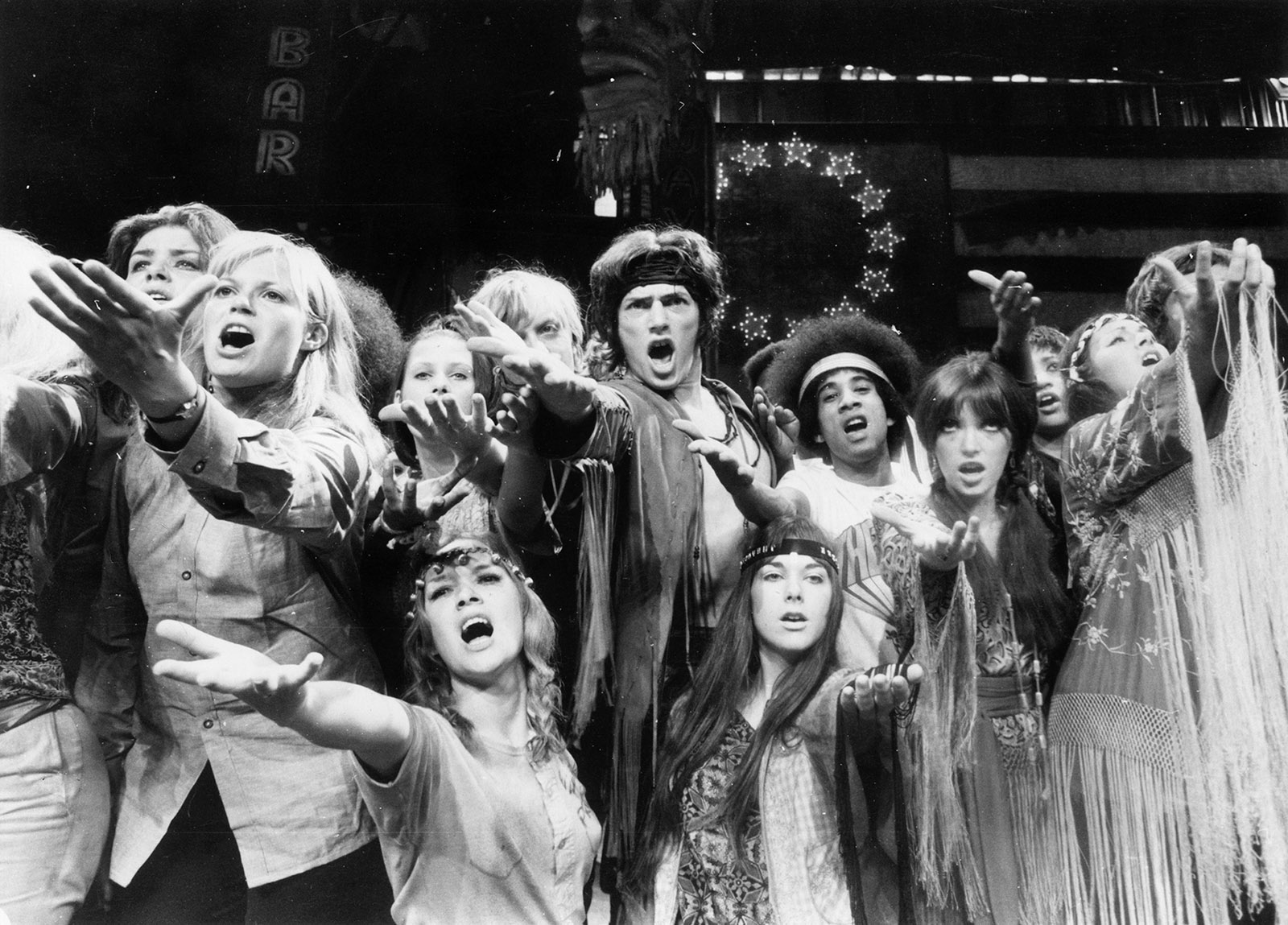 A rehearsal of the musical Hair at the Shaftesbury Theatre, London, September 1968