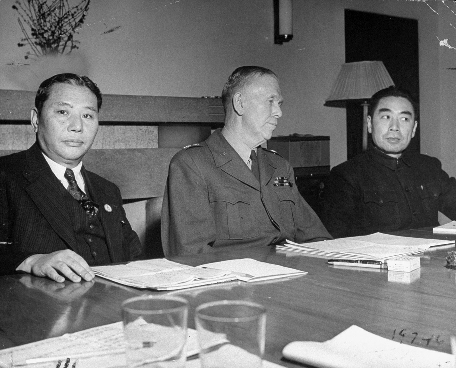 General George C. Marshall meeting with Chang Chun and Zhou Enlai, circa 1946