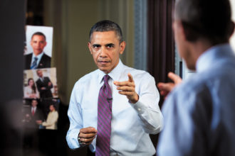 President Obama during taping for the White House Correspondents' Dinner, April 2013; photograph by Pete Souza from his book Shade: A Tale of Two Presidents, to be published by Little, Brown in October