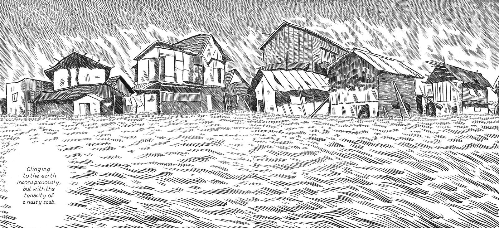 "A panel from Tadao Tsuge's Slum Wolf showing the shantys of ""Vagabond Plain,"" 2018"