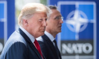 President Donald Trump with NATO Secretary General Jens Stoltenberg, Brussels, July 11, 2018