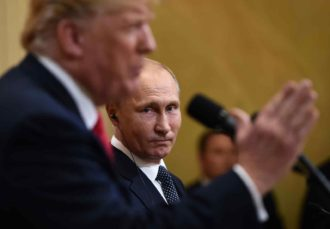 US President Donald Trump and Russian President Vladimir Putin at the Presidential Palace during the Helsinki Summit, Finland, July 16, 2018