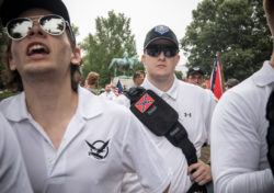White supremacist groups rallying in Emancipation Park during the Unite the Right Rally, Charlottesville, Virginia, August 12, 2017