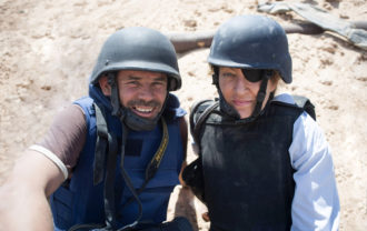 The journalist Paul Conroy and Marie Colvin, Syria, 2012