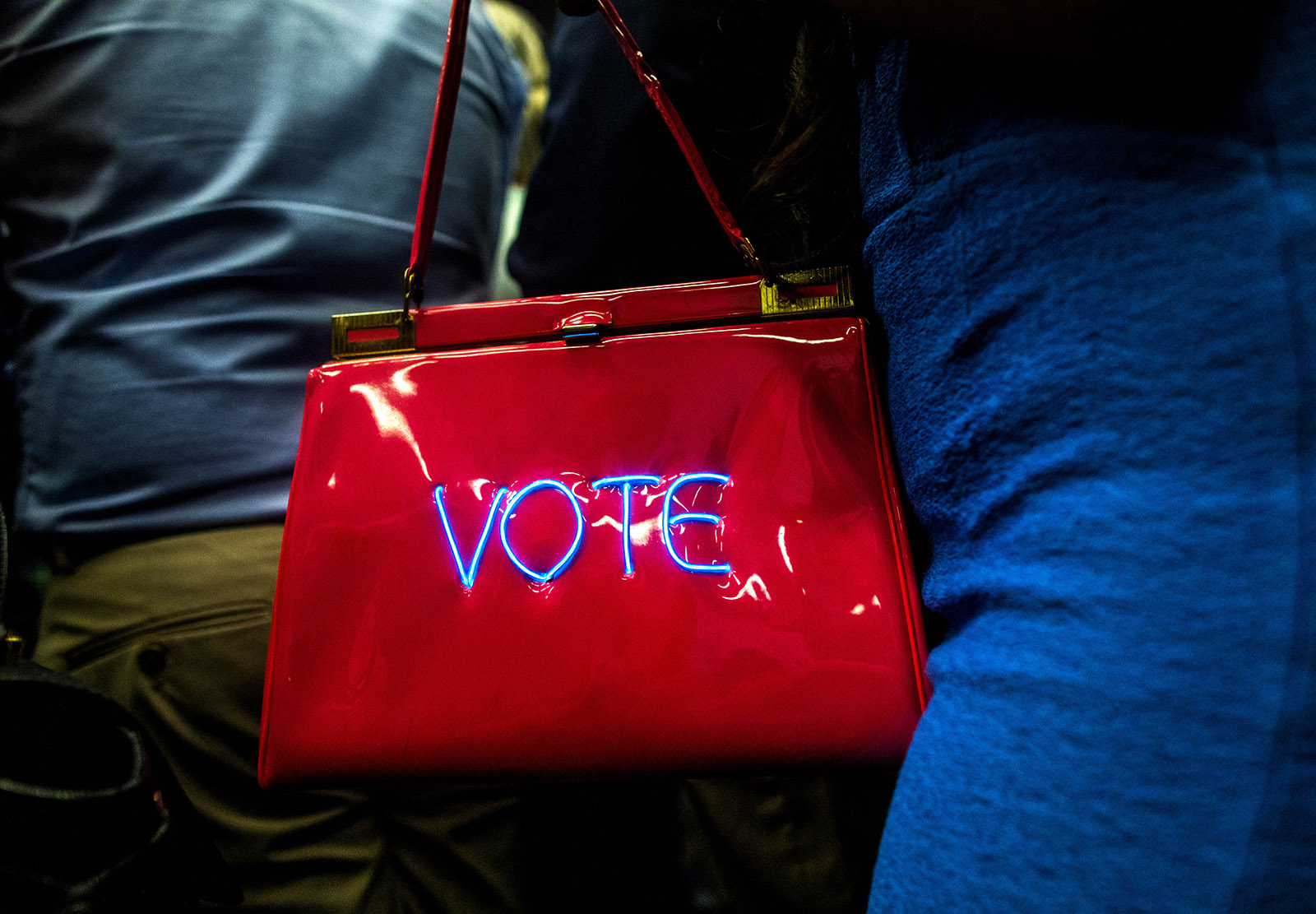 The purse of an attendee at a Democratic Congressional Campaign Committee rally addressed by President Barack Obama, Anaheim, California, September 8, 2018