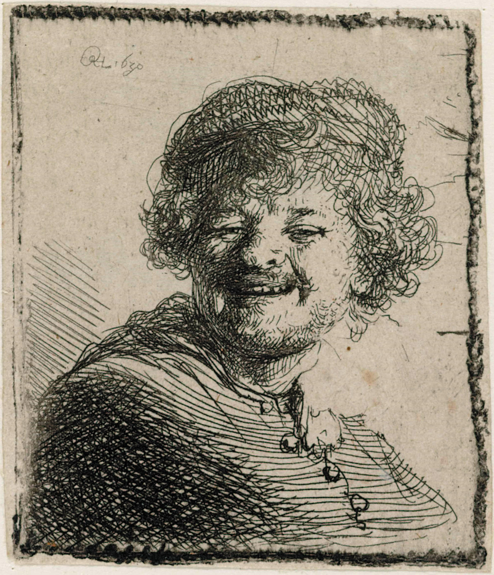 Rembrandt: Self-Portrait in a Cap: Laughing, 1630