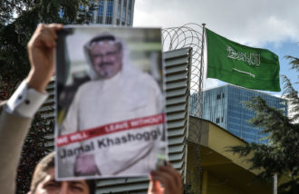A protest in front of the Saudi Consulate against the disappearance of journalist Jamal Khashoggi, Istanbul, Turkey, October 5, 2018