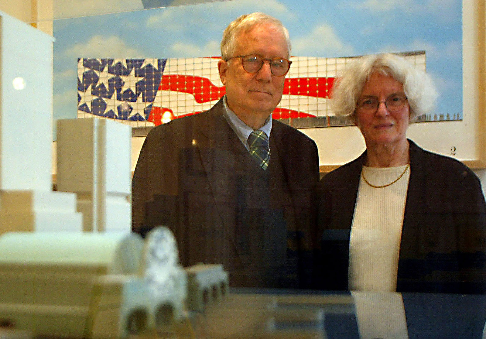 Architects Robert Venturi and Denise Scott Brown at the Museum of Contemporary Art, Los Angeles, for a 2002 show of their work