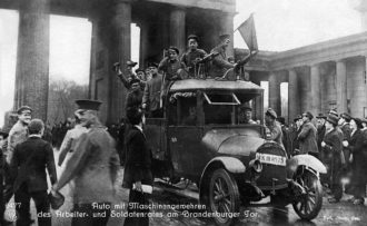 Revolutionary soldiers and workers in Berlin, where the Spartacist leader Karl Liebknecht declared the German Socialist Republic in November 1918