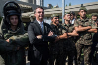 Former army captain and far-right frontrunner for the Brazilian presidency Jair Bolsonaro posing with soldiers, São Paulo, May 3, 2018