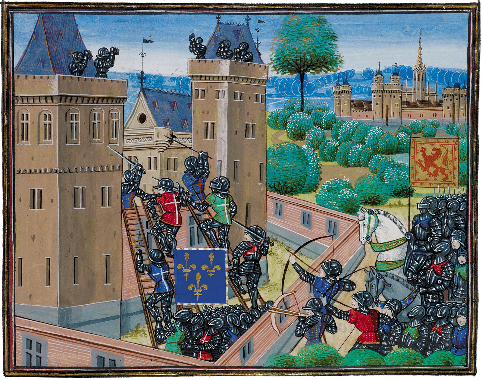 Scottish knights laying siege to an English castle in the border country; from Jean Froissart's Chronicles of France and England, fourteenth century