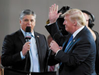 Sean Hannity interviewing President Trump before a rally in Las Vegas, September 2018