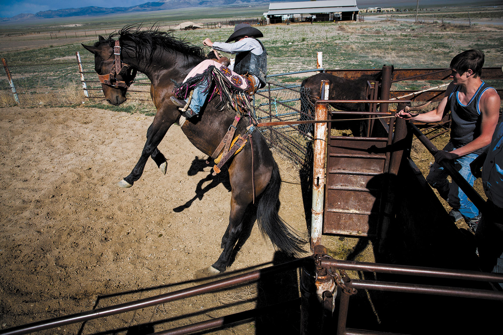 Ryder Wright on a bucking horse at his family's ranch, Milford, Utah, 2014