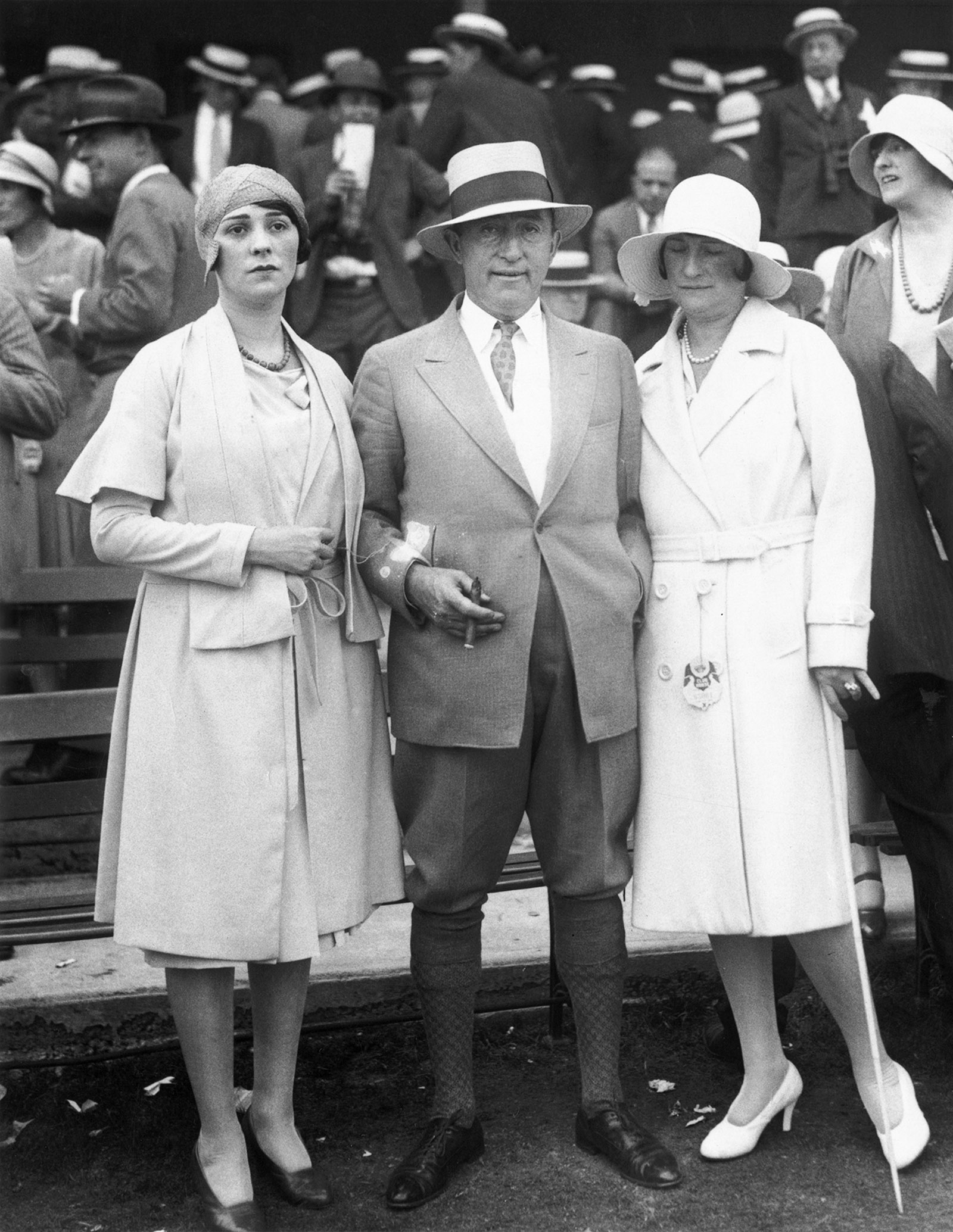 William Fox with his wife, Eva, and one of his daughters, 1920s