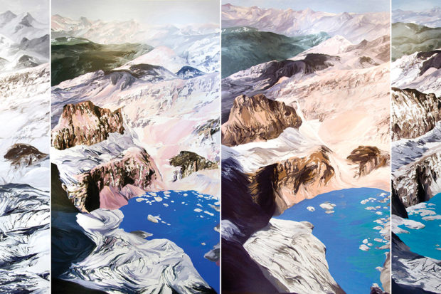 Diane Burko: <i>Grinnell Mt. Gould #1, #2, #3, #4</i>, 2009; based on USGS photos of Grinnell Glacier at Glacier National Park, Montana, between 1938 and 2006. Burko's work is on view in 'Endangered: From Glaciers to Reefs,' at the National Academy