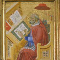 Detail of Saint Jerome translating the Gospel of John, circa 1400