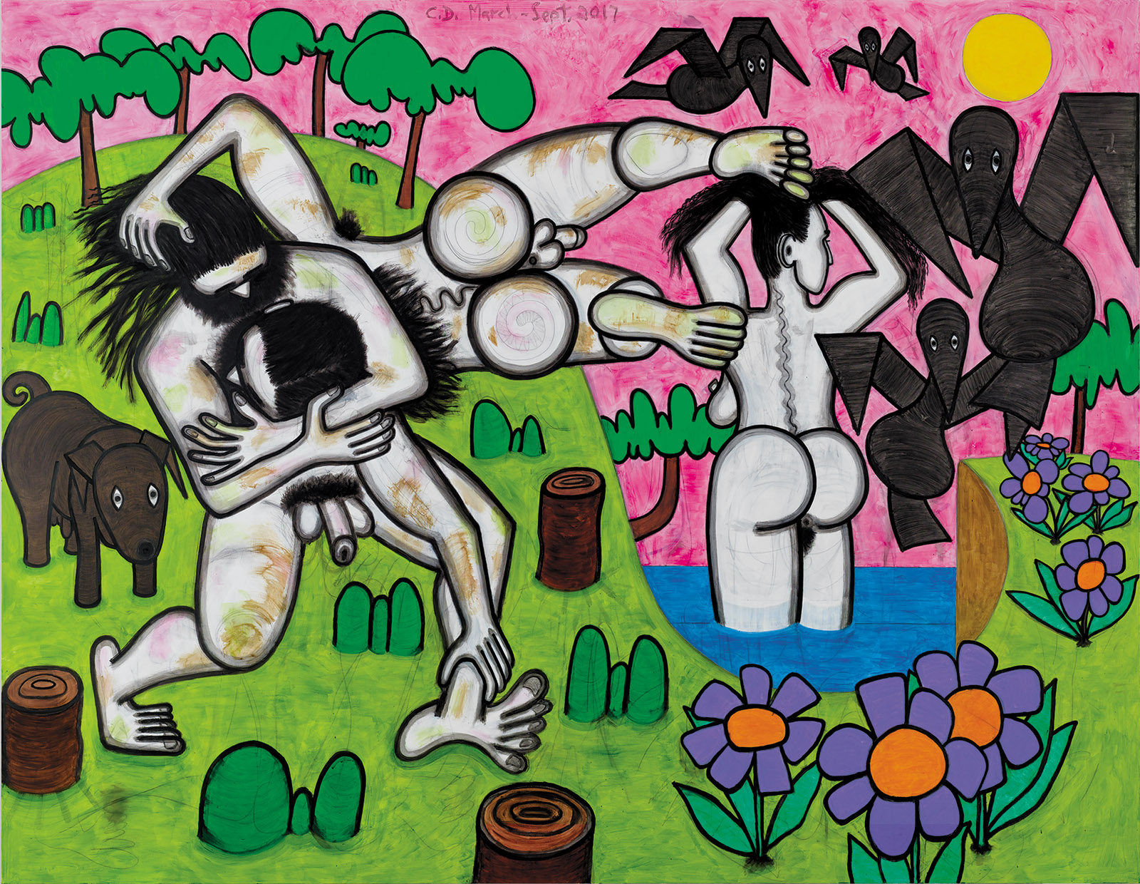 Carroll Dunham: Any Day, 78 x 100 inches, 2017
