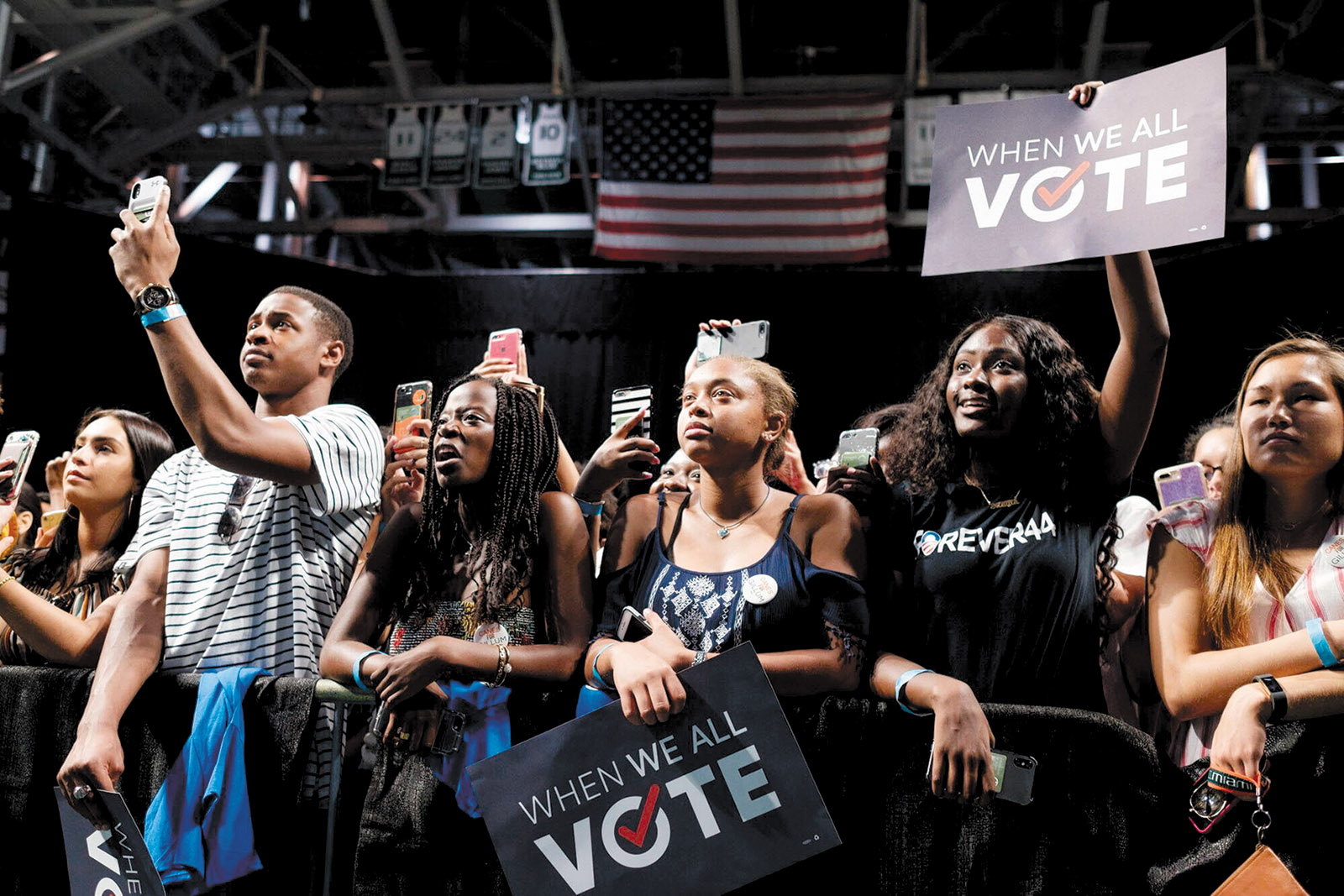 The crowd at a get-out-the-vote rally during a speech by Michelle Obama, Miami, Florida, September 2018