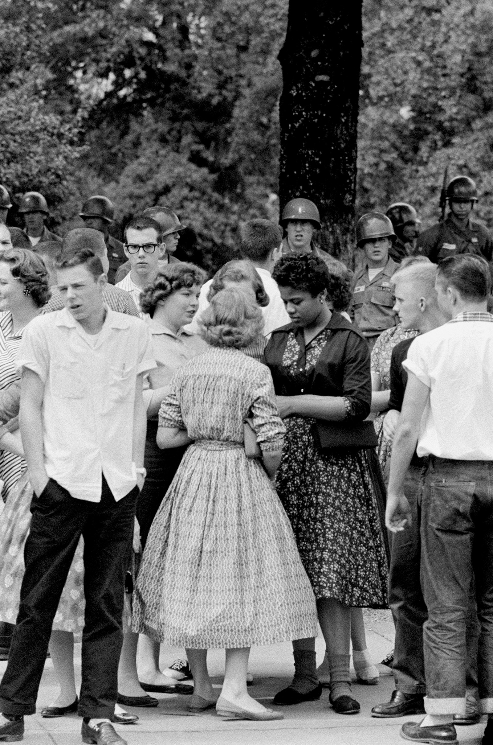 Recess on the first day of integration at Little Rock Central High School, Little Rock, Arkansas, 1957
