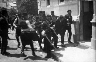 Gavrilo Princip arrested after his assassination of Archduke Franz Ferdinand of Austria, Sarajevo, June 28, 1914