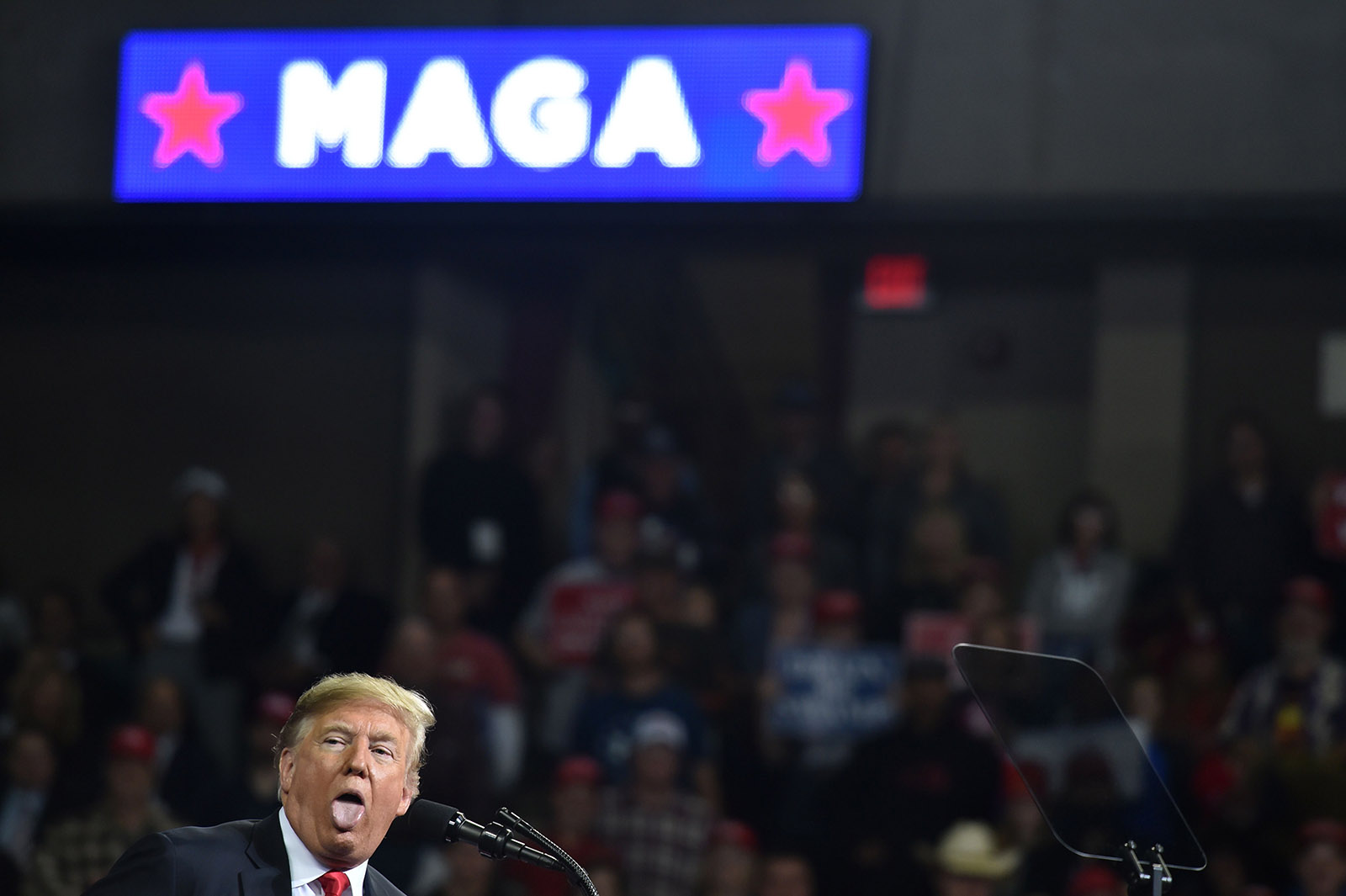 President Trump addressing a rally in Topeka, Kansas, October 6, 2018