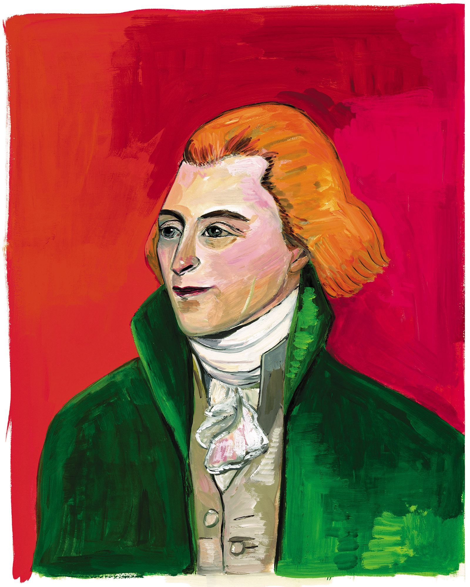 Thomas Jefferson; painting by Maira Kalman. It and the painting of John Adams on page 70 are from her book Thomas Jefferson: Life, Liberty and the Pursuit of Everything, published in 2014.