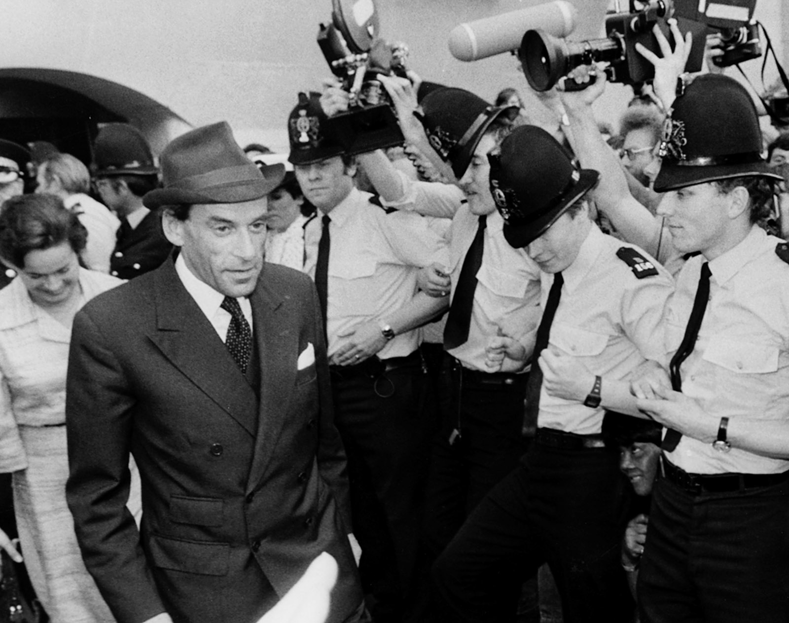 Former Liberal Party leader Jeremy Thorpe leaving the Old Bailey with his wife, Marion, after he was found not guilty of conspiracy to murder, London, June 1979