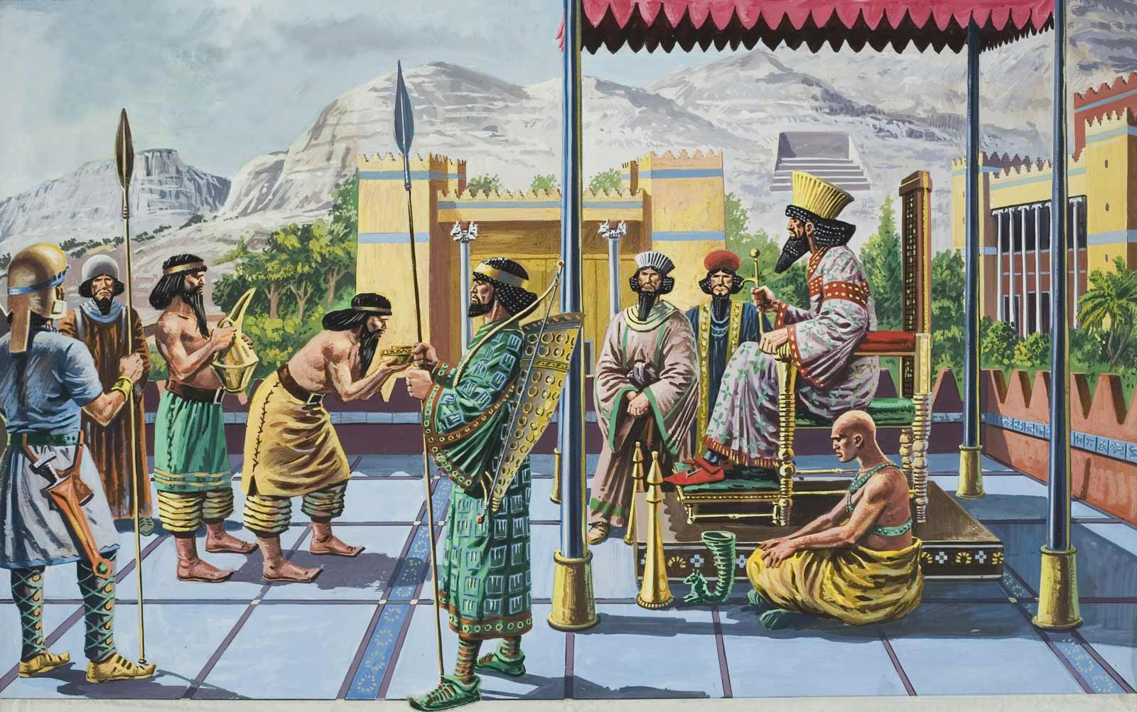 King Darius I (circa 550-486 BC) receiving gifts in one of his palaces, twentieth century