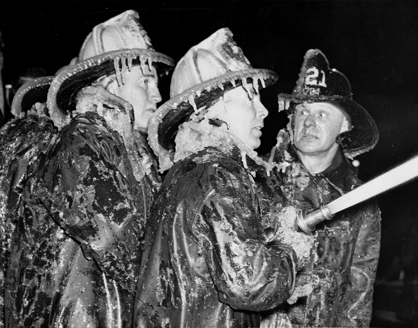 Firemen at Coney Island, New Year's Eve, 1940