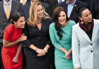 Newly elected Democratic congresswomen Alexandria Ocasio-Cortez (New York), Debbie Mucarsel-Powell (Florida), Abby Finkenauer (Iowa), and Sharice Davids (Kansas) at the US Capitol, Washington, D.C., November 2018