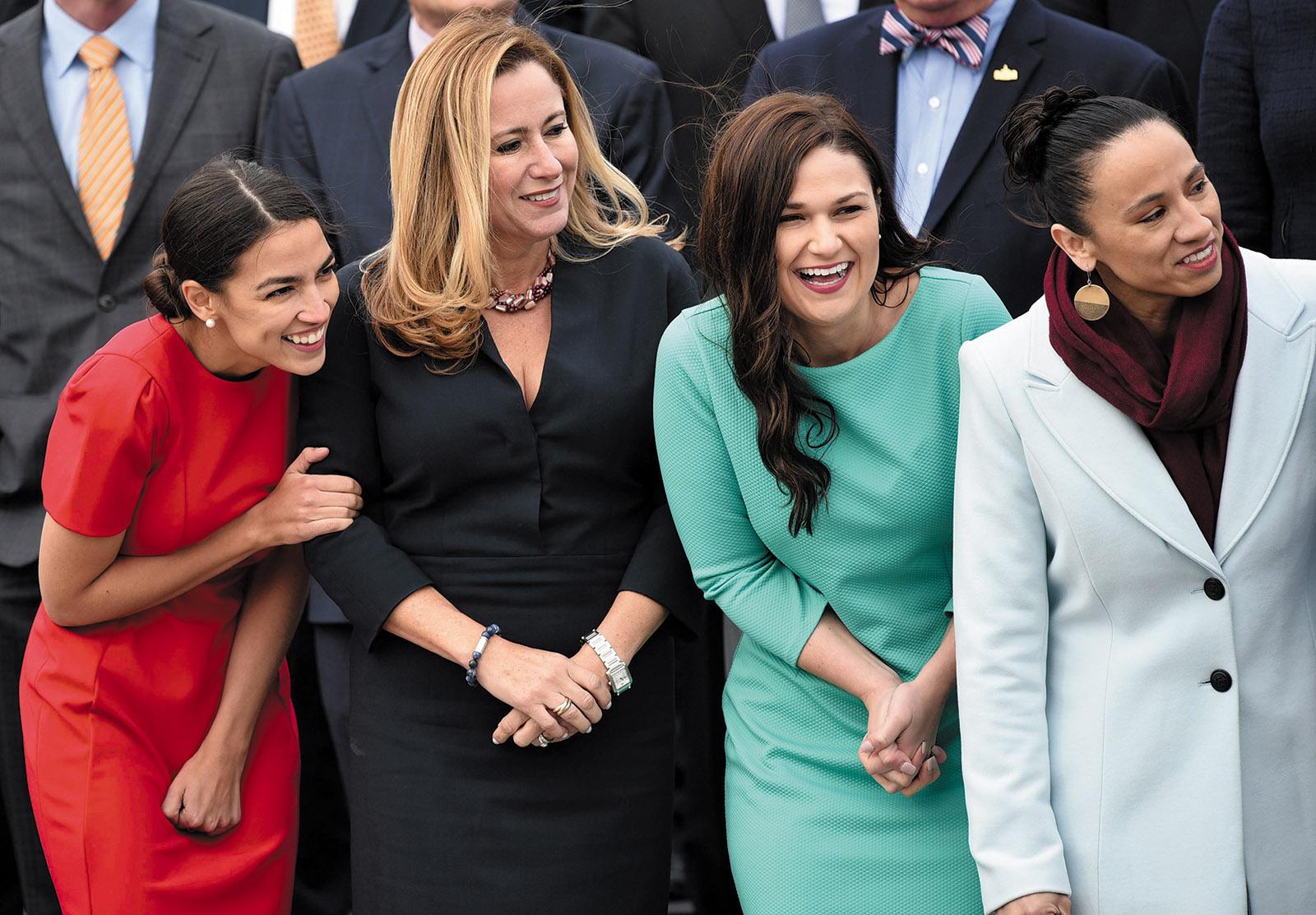 Newly elected Democratic congresswomen Alexandria Ocasio-Cortez (New York), Debbie Mucarsel-Powell (Florida), Abby Finkenauer (Iowa), and Sharice Davids (Kansas) at the US Capitol, Washington, D.C., November 2018